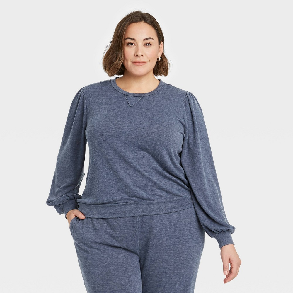 Women 39 S Plus Size Puff Sleeve Sweatshirt Knox Rose 8482 Navy 2x