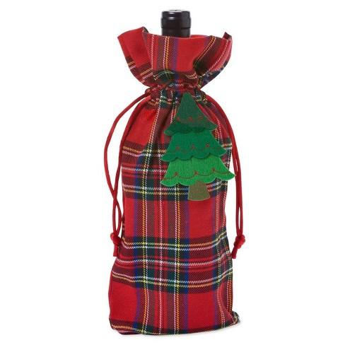 Papyrus Christmas Plaid Fabric Beverage Gift Bag - image 1 of 3