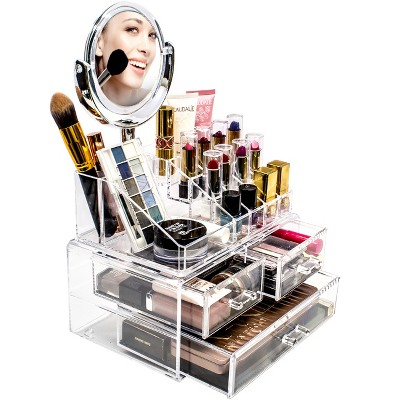 Sorbus Makeup Storage Organizer With Magnifying Mirror   Clear