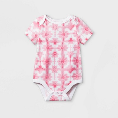 Baby Girls' Floral Tie-Dye Short Sleeve Bodysuit - Cat & Jack™ Pink Newborn