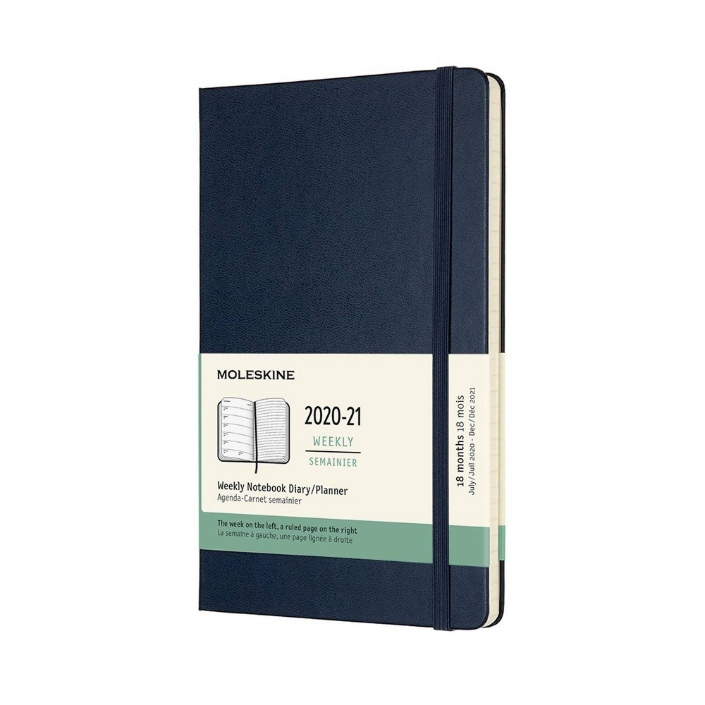"Image of ""2020-21 Academic 18M Planner 5"""" x 8"""" Weekly Large HC Sapphire Blue - Moleskine"""