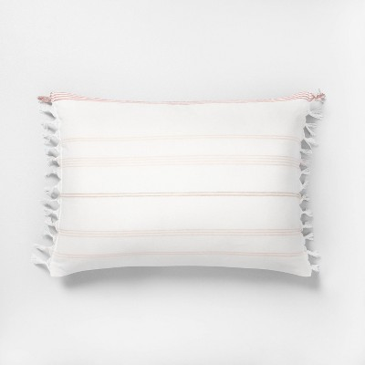 "14"" x 20"" Knotted Fringe Stripes Throw Pillow Rose / Sour Cream - Hearth & Hand™ with Magnolia"