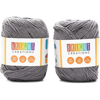 2 Pack 3.5oz Grey Cotton Yarn Skeins 165 Yards, Knitting and Crochet Yarn Bulk for Art and DIY Craft Projects