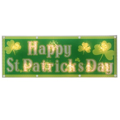 """Northlight 17"""" Lighted Holographic Happy St.Patrick's Day Window Silhouette Decoration"""