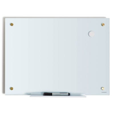 "U Brands 17""x23"" Magnetic Glass Dry Erase Board with Gold Hardware"