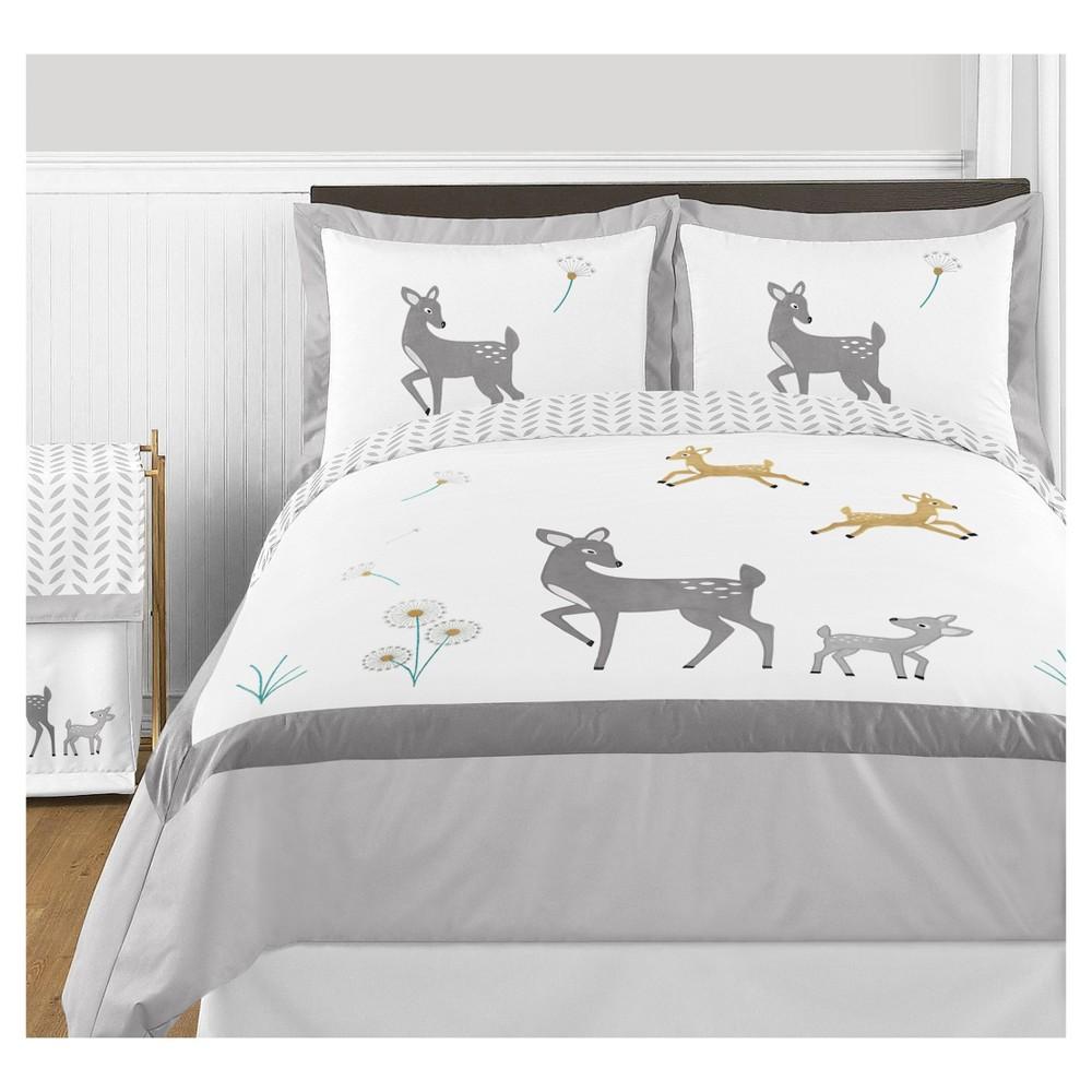 White & Gray Forest Deer Comforter Set (Full/Queen) - Sweet Jojo Designs