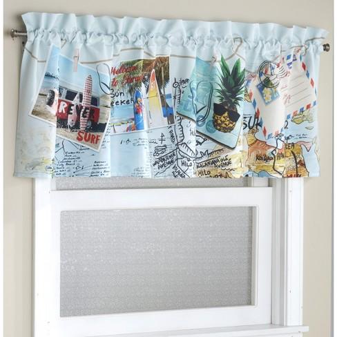 Rod Pocket Coastal Window Accent, Coastal Window Curtains