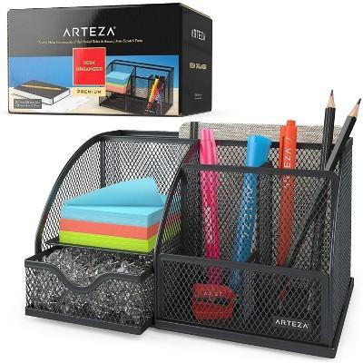 Arteza Desk Organizer, Black Mesh, 6 Compartments