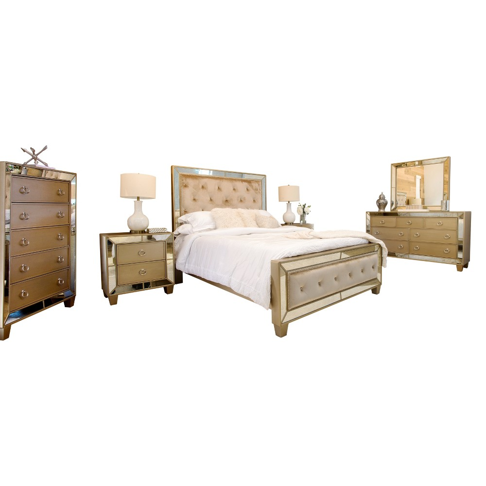 Image of 6pc Claudine Mirrored Tufted Bedroom Set Gold - Abbyson Living, Brown