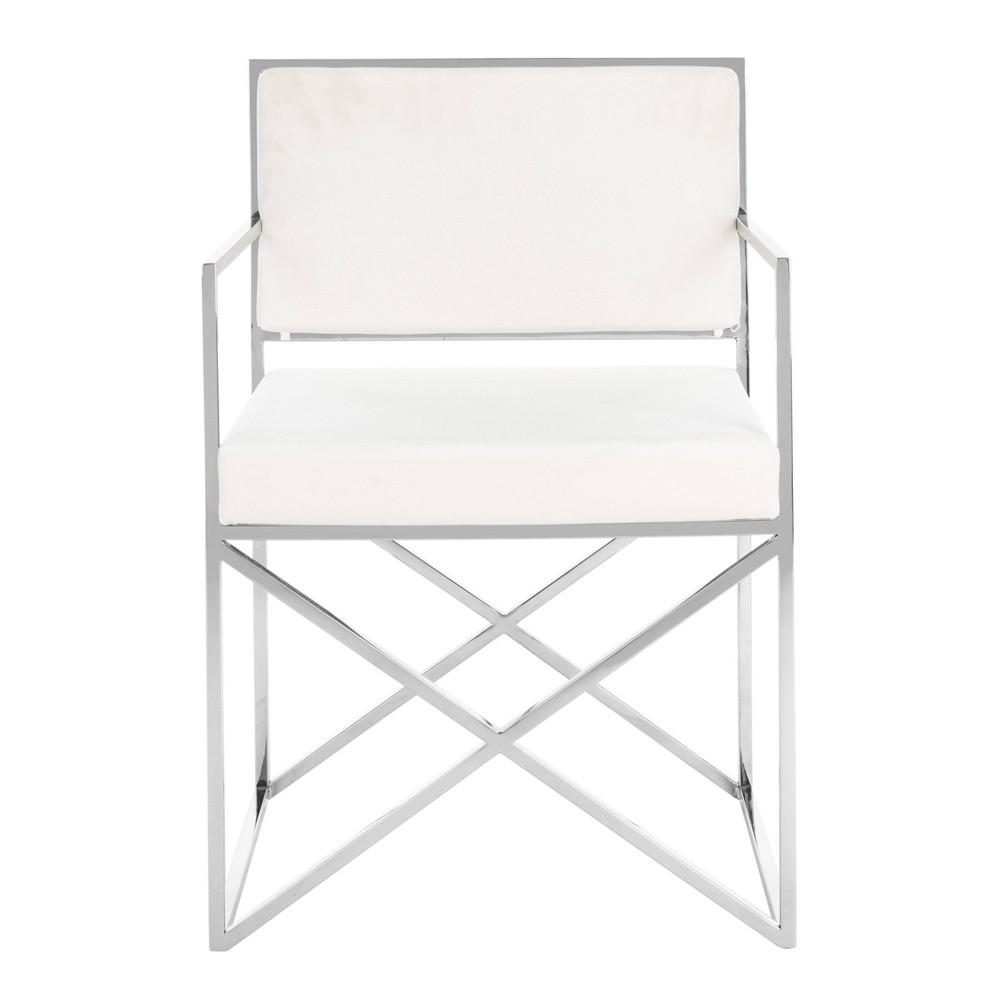 Kian Velvet Directors Chair White Silver Safavieh