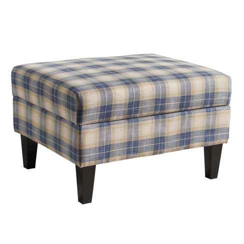 Excellent Daisha Storage Ottoman Blue Plaid Christopher Knight Home Machost Co Dining Chair Design Ideas Machostcouk