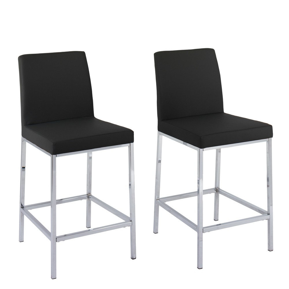 Set of 2 Counter And Bar Stools Black - CorLiving