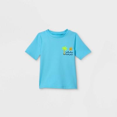 Toddler Boys' Palm Tree Print Short Sleeve Rash Guard Swim Shirt - Cat & Jack™ Light Blue