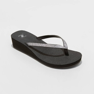Women's Jessica Wedge Flip Flop Sandals - Shade & Shore™ Silver