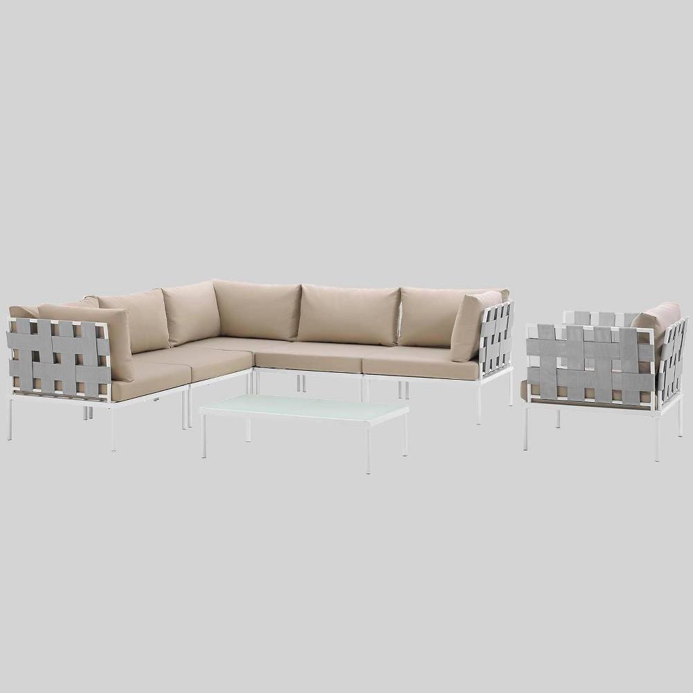 Harmony 7pc Aluminum Outdoor Patio Sectional Sofa Set - Beige - Modway