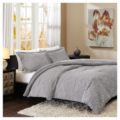 Gray Albany Long Faux Fur Plush Comforter Mini Set (King)