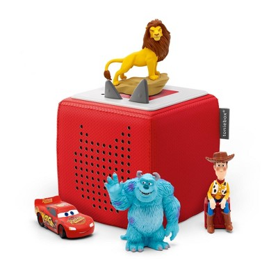 Disney Toniebox Starter Set Red with Tonies Cars, Lion King, Toy Story and Monsters, Inc. Figurines Bundle