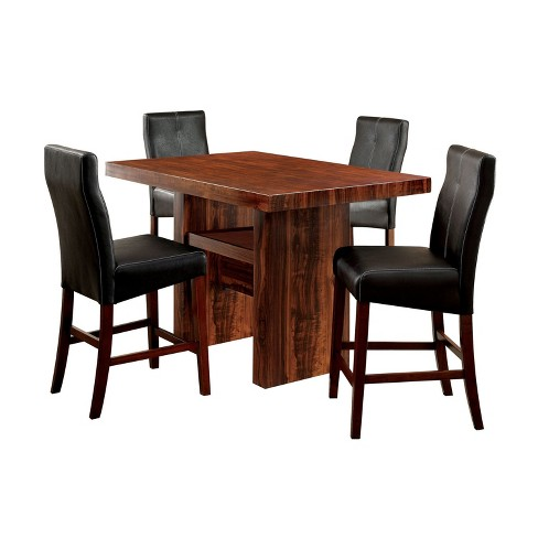 Sun Pine 5pc Faux Marble Top Block Counter Dining Table Set Brown