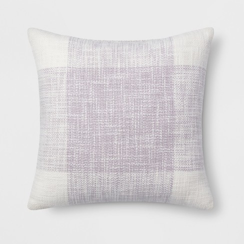 Plaid Square Throw Pillow Lavender - Threshold™ - image 1 of 2