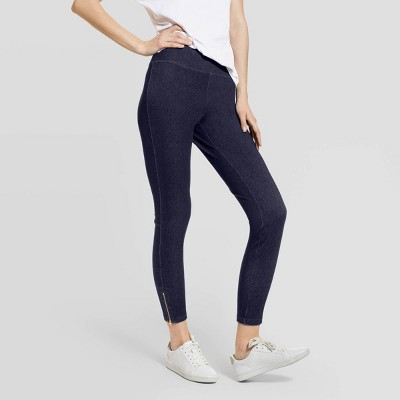Hue Studio Women's Mid-Rise Ankle Zipper Denim Skimmer Leggings - Dark Denim Wash