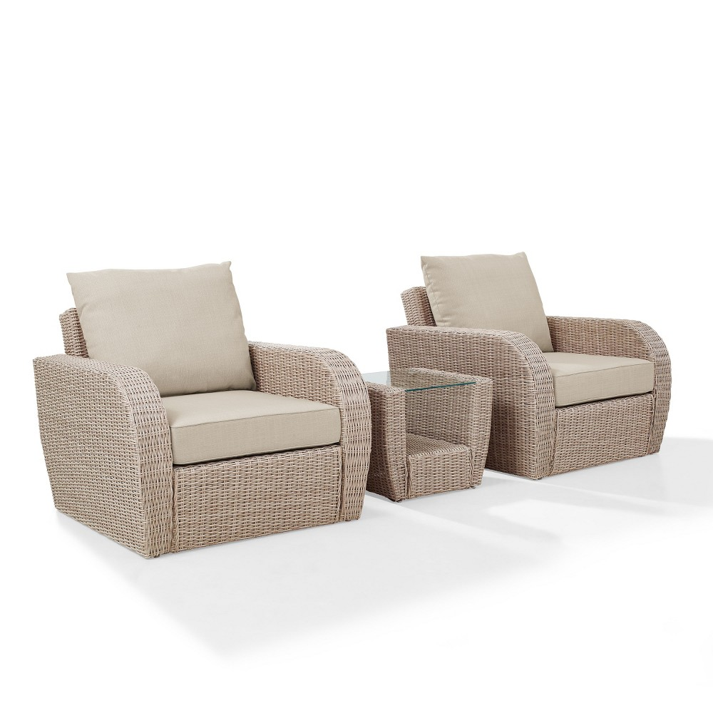 3pc St Augustine Outdoor Wicker Seating Set Oatmeal - Crosley