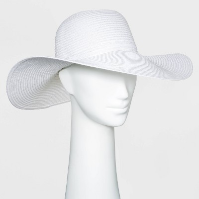 Women's Packable Essential Straw Floppy Hat - A New Day™ White