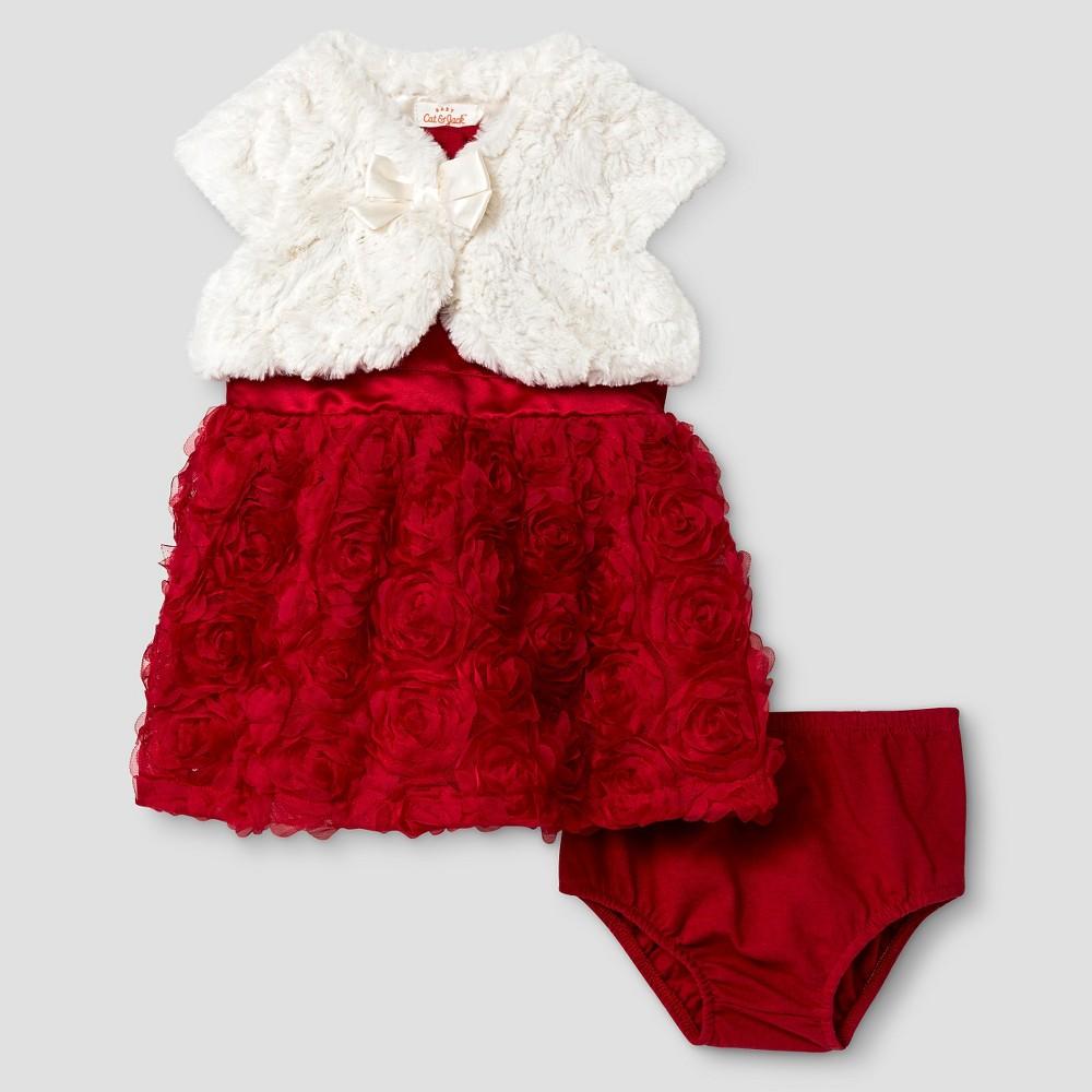 Baby Girls' Rosette Dress and Faux Fur Shrug Set - Cat & Jack Cream/Red 24 M, Size: 24M, Almond Cream