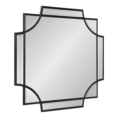 """24"""" x 24"""" Minuette Scallop Wall Mirror Black - Kate & Laurel All Things Decor"""