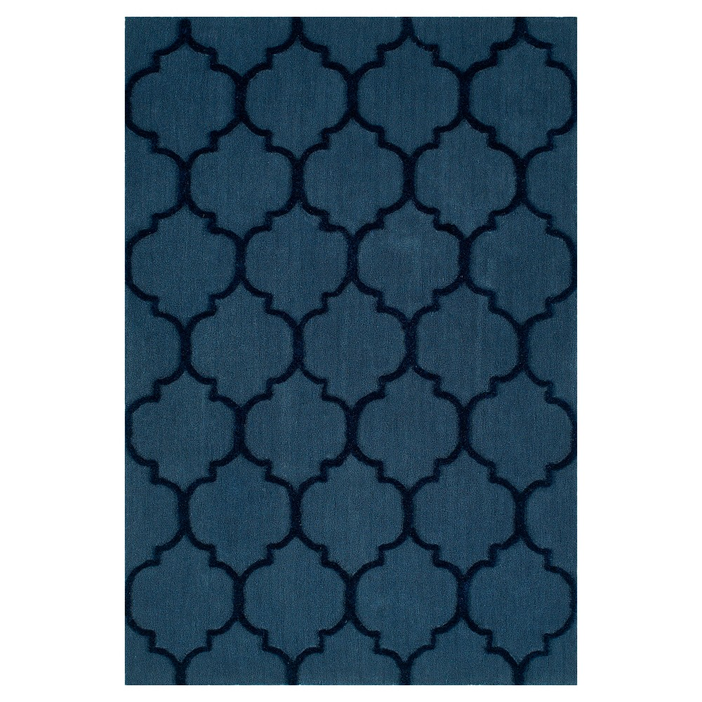 Denim Blue Geometric Tufted Accent Rug - (3'6