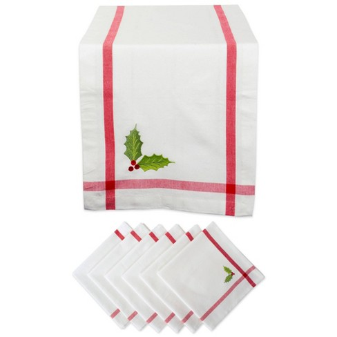 Embroidered Holly Corner With Border Table Set White - Design Imports - image 1 of 4