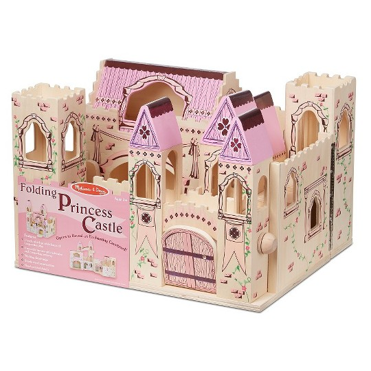 Melissa & Doug Folding Princess Castle Wooden Dollhouse With Drawbridge and Turrets image number null
