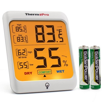 ThermoPro TP-53 Indoor Hygrometer Humidity Gauge Indicator Digital Thermometer Room Temperature and Humidity Monitor with Touch Backlight
