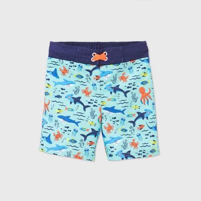 Toddler Boys' Sea Animals Print Swim Trunks - Cat & Jack™ Blue