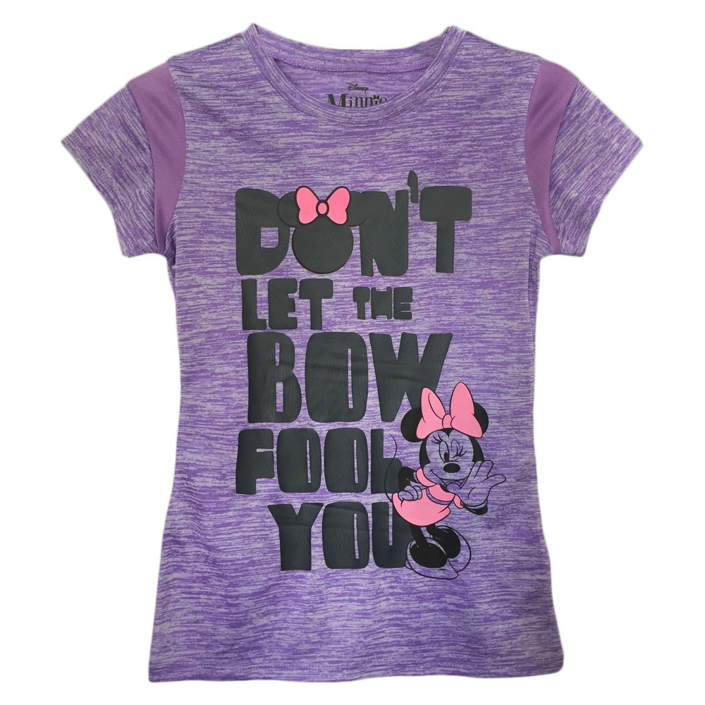 Girls' Minnie Mouse Don't Let THE Bow Fool You T-Shirt Purple L