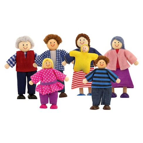 Melissa & Doug® 7-Piece Poseable Wooden Doll Family for Dollhouse (2-4 inches each) - image 1 of 3