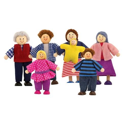 Melissa Doug 7 Piece Poseable Wooden Doll Family For Dollhouse 2