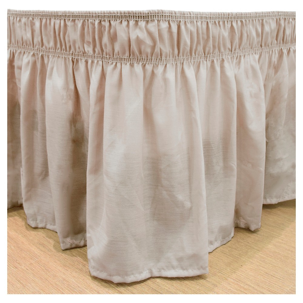 Tan Wrap Around Solid Ruffled Bed Skirt (Queen/King) (80