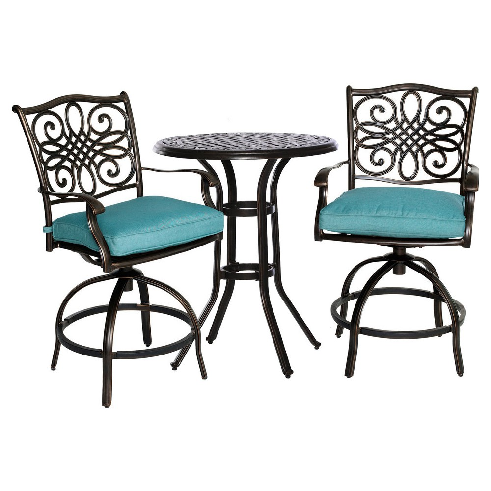 Traditions 3pc Metal Patio Bistro Set - Blue - Hanover