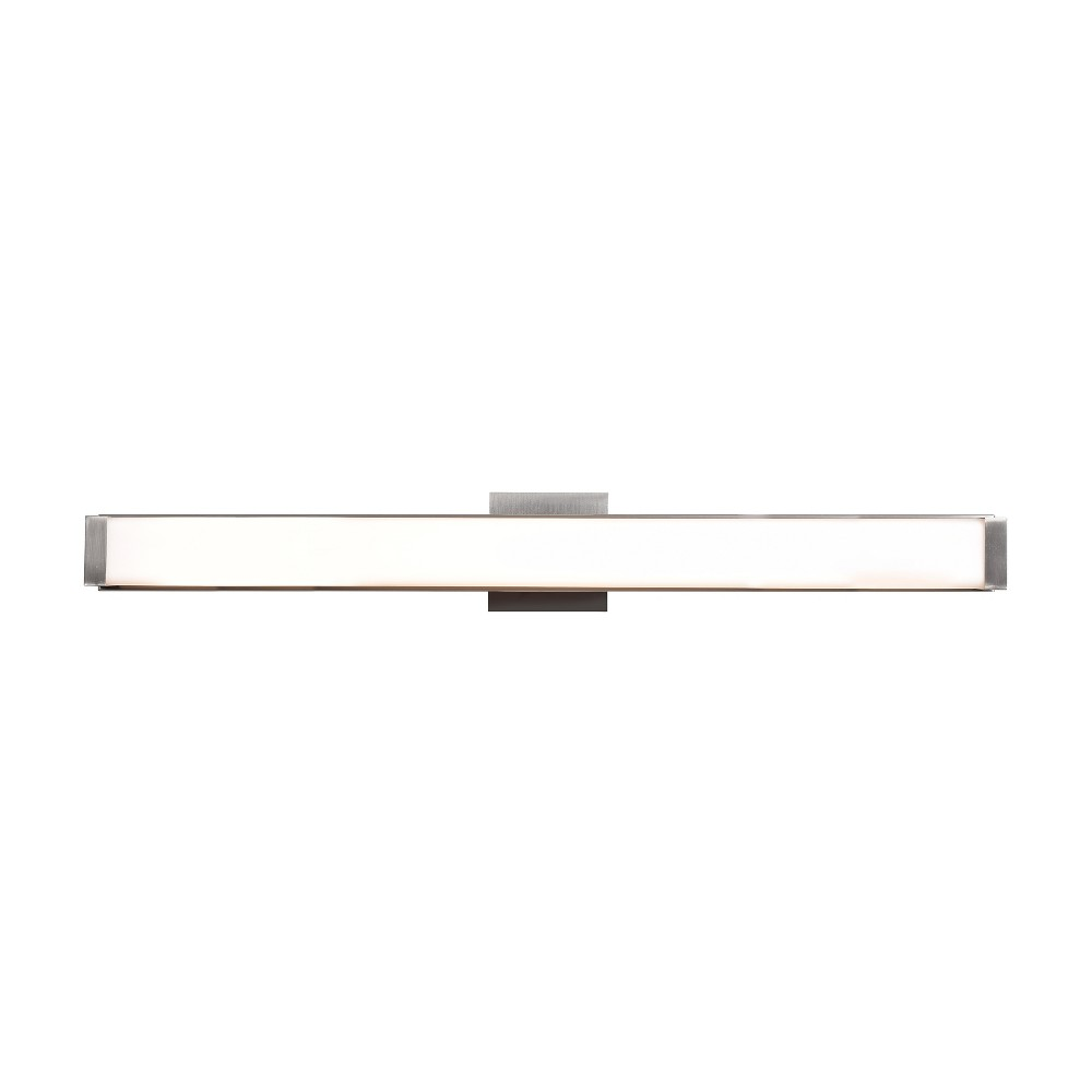 Fjord 36W Led Vanity Light - Brushed Steel - Opal Glass Shade, Silver