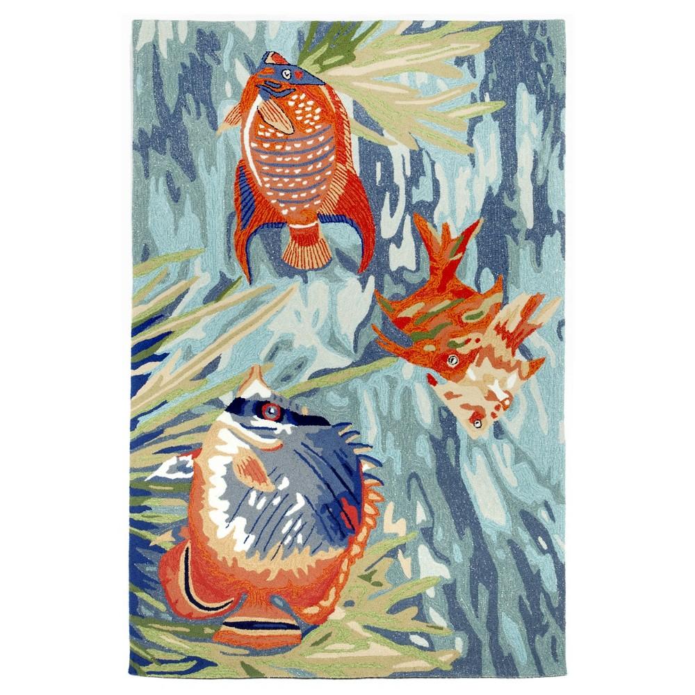 "Image of ""Liora Manne Ravella Tropical Fish Indoor/Outdoor Area Rug - Blue (8'3""""X11'6"""")"""
