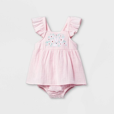 Baby Girls' Bunny Embroidery Sunsuit - Cat & Jack™ Pink 3-6M