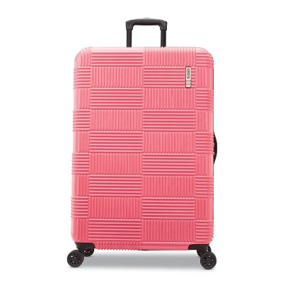 """American Tourister 28"""" Checkered Hardside Spinner Suitcase - Flamingo"""