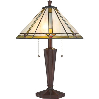 Robert Louis Tiffany Traditional Mission Accent Table Lamp Bronze Stained Art Glass Shade for Living Room Bedroom Bedside Family