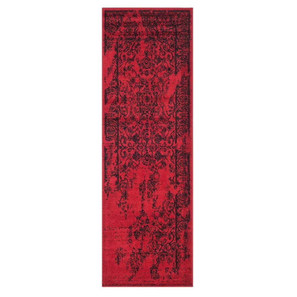 Red Black Medallion Loomed Runner 2 6 X14 Safavieh