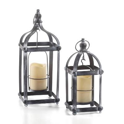 """18"""" Bradford Metal Outdoor Lantern Set Black - Smart Living"""