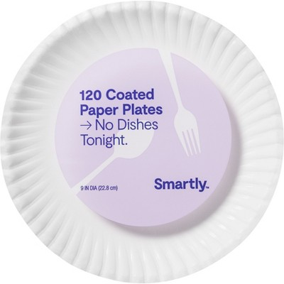 """Coated Disposable Paper Plates - 9""""- 120ct - Smartly™"""