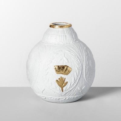 7  x 6.5  Decorative Stoneware Vase White/Gold - Opalhouse™