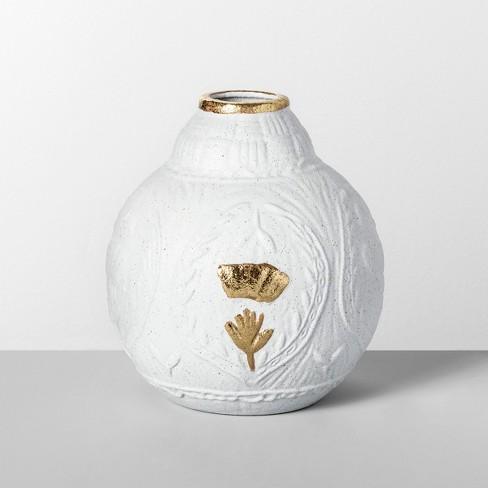 """7"""" x 6.5"""" Decorative Stoneware Vase White/Gold - Opalhouse™ - image 1 of 2"""