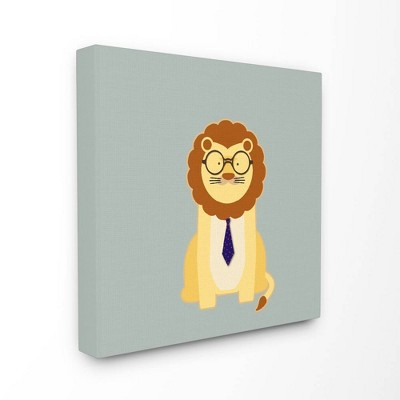 """17""""x1.5""""x17"""" Hipster Lion with Tie Stretched Canvas Wall Art - Stupell Industries"""