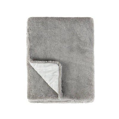 Tadpoles Super Soft Double Layer Faux Fur Plush Baby Blanket - Gray